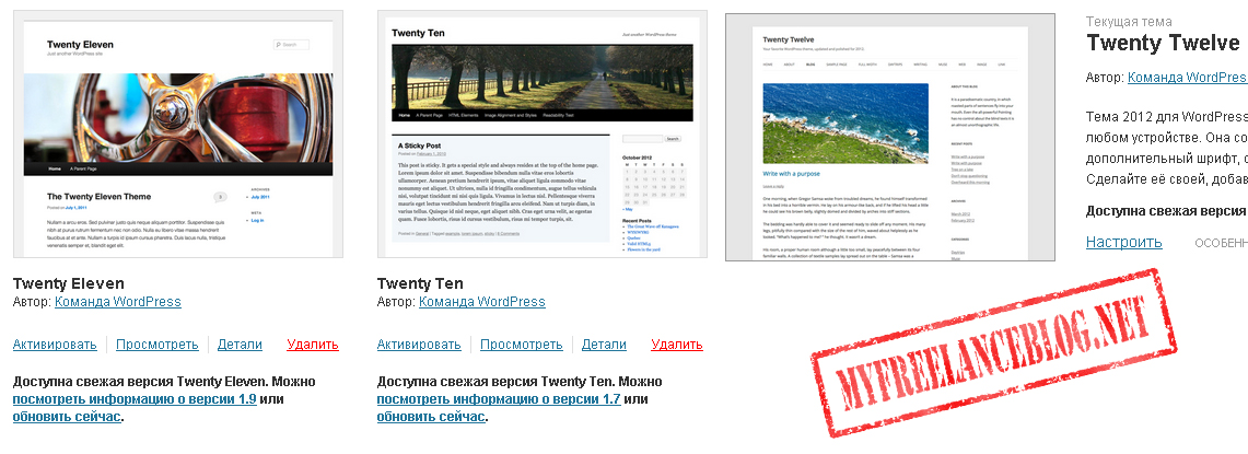 Стандартные шаблоны WordPress
